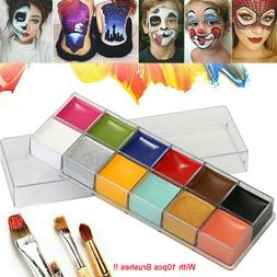 12 Colors Face Body Paint Oil Painting Art Make Up Tool Set